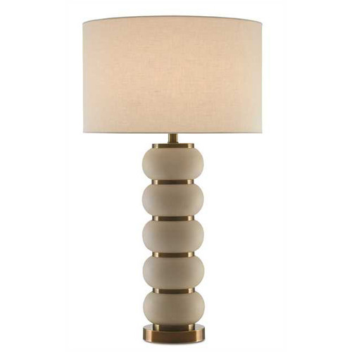 Shown in White Mud/Antique Brass with Off White Linen Shade
