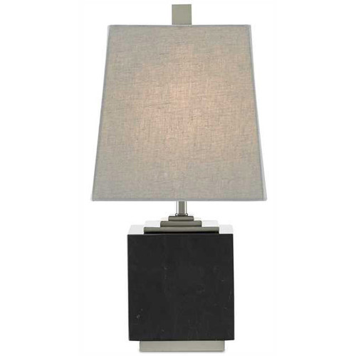 Shown in Black/Satin Nickel with Gray Linen Shade