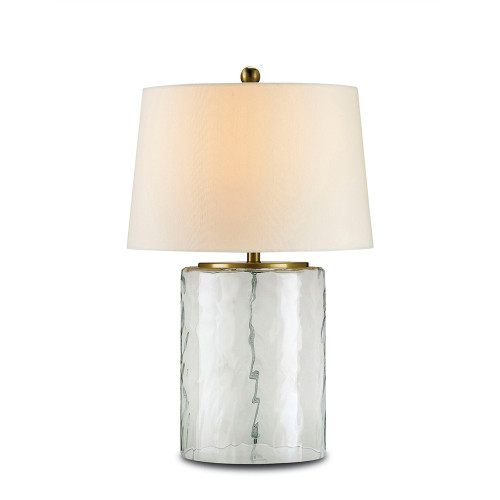 Shown in Clear Glass/Brass with Off White Shantung Shade
