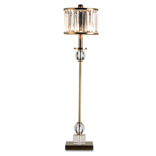 Shown in Crystal/Antique Brass with Crystal Prism Shade