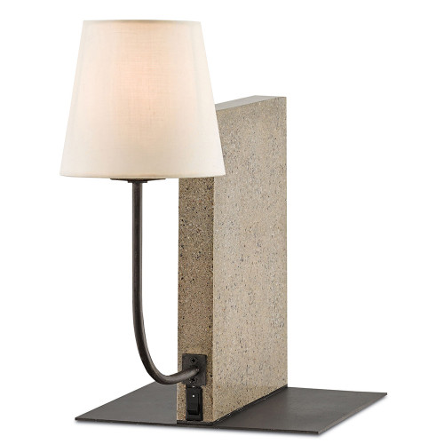 Shown in Polished Concrete/Aged Steel with Off White Linen Shade