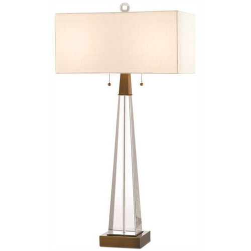 Shown in Clear/Antique Brass with Off White Shantung Shade