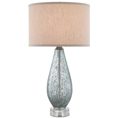 Shown in Pale Blue Glass/Clear with Natural Linen Shade