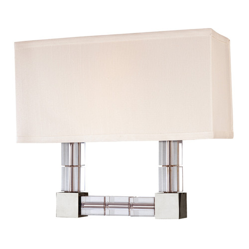 Shown in Polished Nickel with Off White Shade/White Glass Shelf Shade