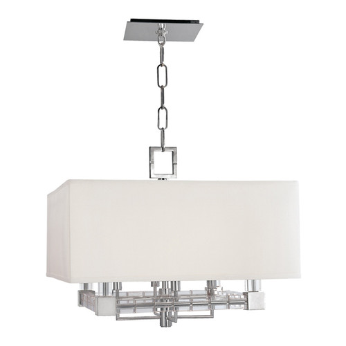 Shown in Polished Nickel with Off White Faux Silk Shade