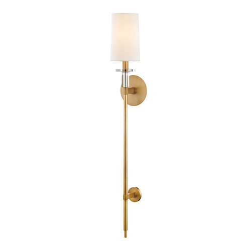 Shown in Aged Brass with Off White Faux Silk Shade