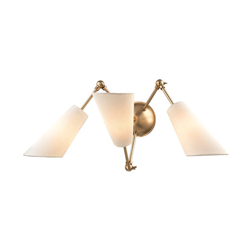 Shown in Aged Brass with Off White Linen Shade