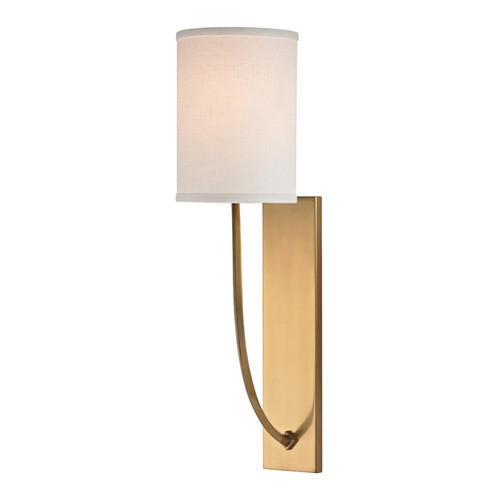 Shown in 1 Light Aged Brass with Off White Linen Shade