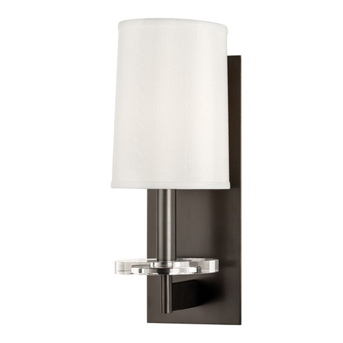 Shown in 1 Light Old Bronze with Off White Fabric Shade