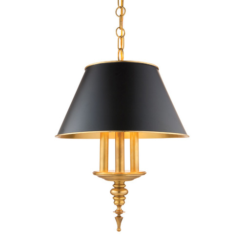 Shown in Aged Brass with Black W/Gold Foil Lining Shade