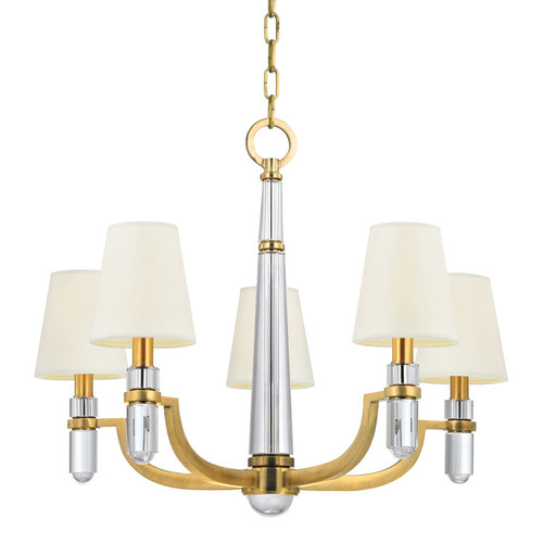 Shown in 5 Light Aged Brass with White Faux Silk Shade