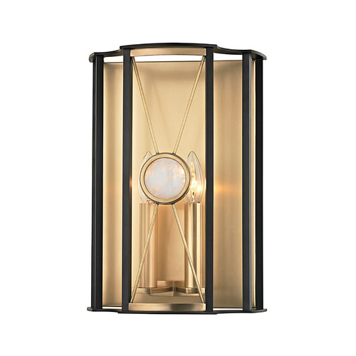 Shown in Aged Brass with White Crystal Shade