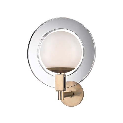 Shown in Aged Brass with White Acrylic Shade