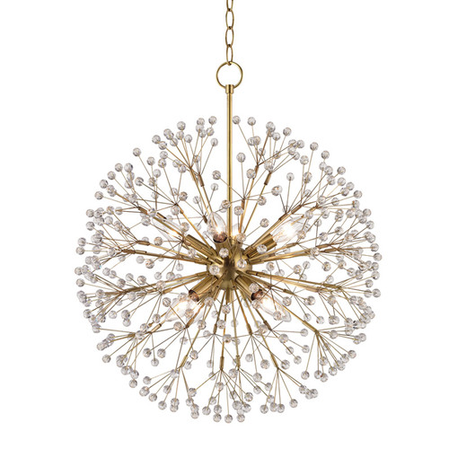 Shown in 8 Light Aged Brass with Clear Crystal Shade