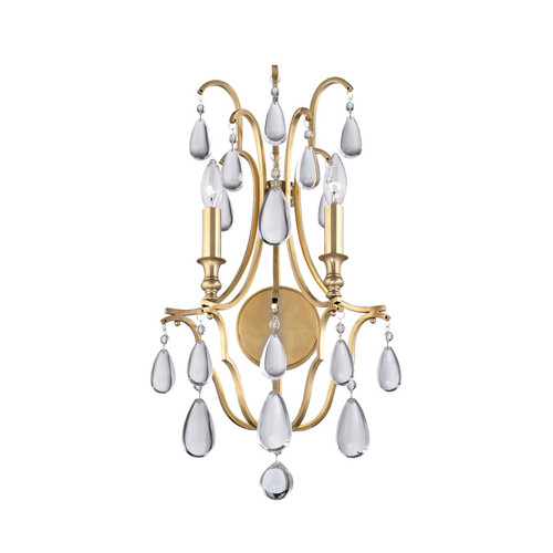 Shown in Aged Brass with Clear Crystal Shade