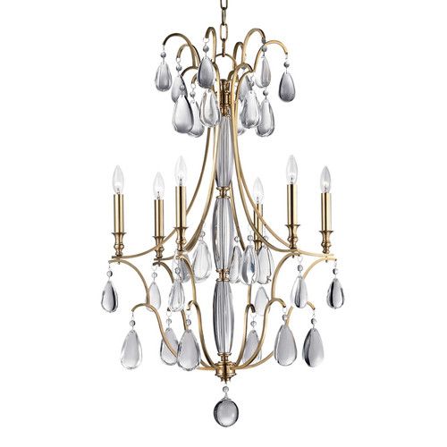 Shown in 6 Light Aged Brass with Clear Crystal Shade