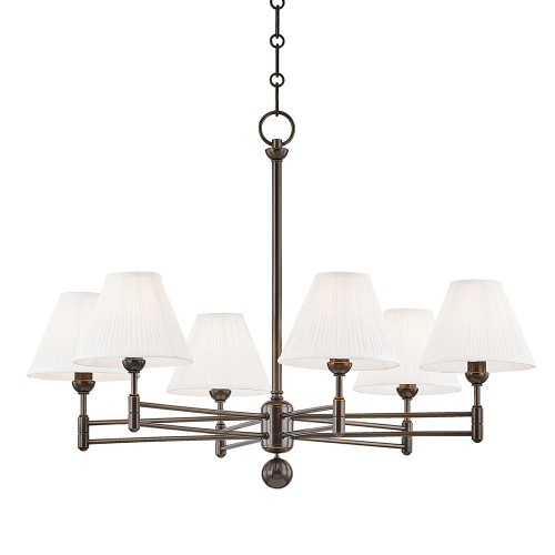 Shown in 6 Light Distressed Bronze with Off White Silk Shade