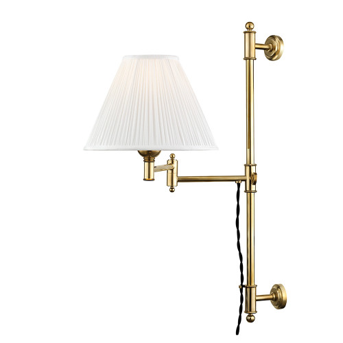 Shown in Aged Brass with Off White Silk Shade