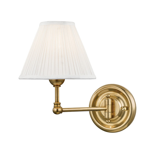 Shown in 1 Light Aged Brass with Off White Silk Shade