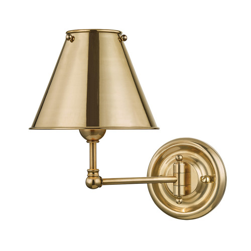 Shown in 1 Light Aged Brass with Aged Brass Shade