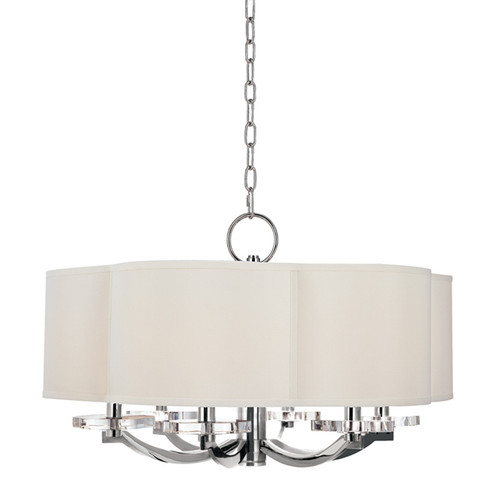 Shown in 6 Light Polished Nickel with Off White Faux Silk Shade