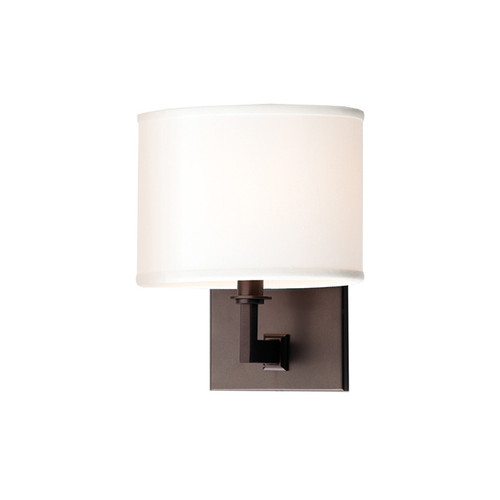 Shown in 1 Light Old Bronze with Off White Faux Silk Shade