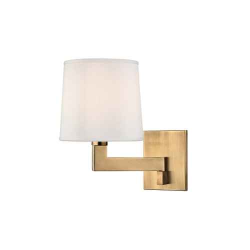 Shown in Small Aged Brass with White Pleated Inside Faux Silk Shade