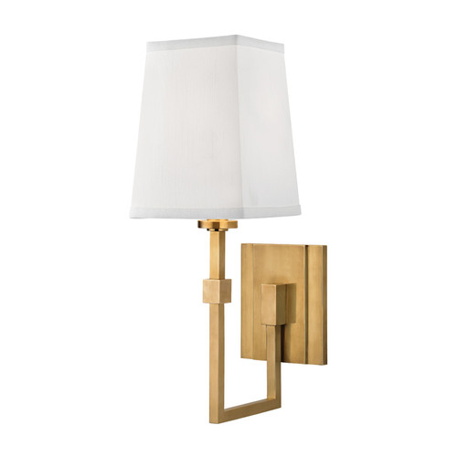 Shown in 1 Light Aged Brass with White Faux Silk Shade