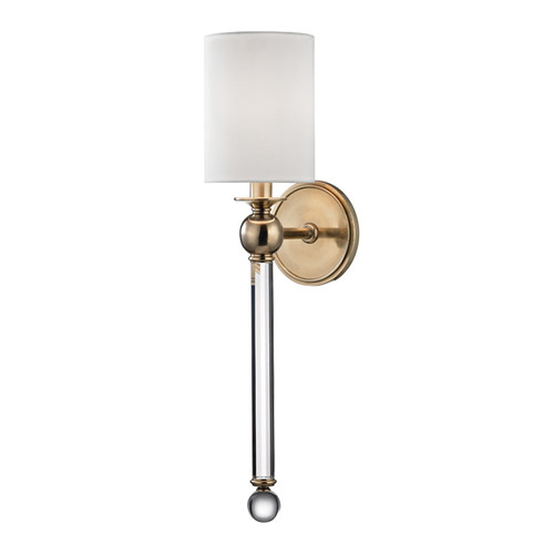 Shown in 1 Light Aged Brass with White Silk Shade