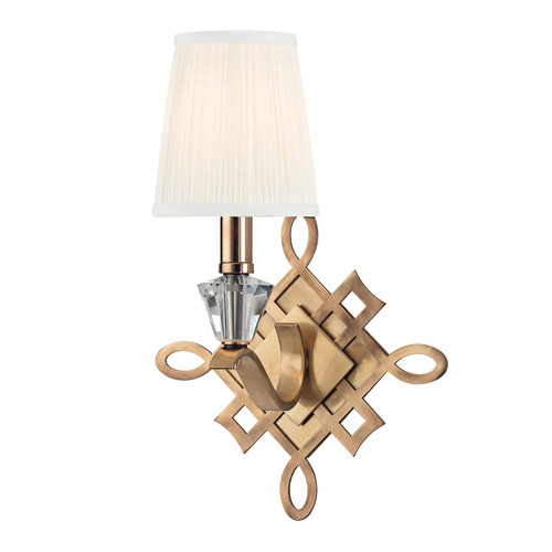 Shown in 1 Light Aged Brass with White/Pleated Silk Shade