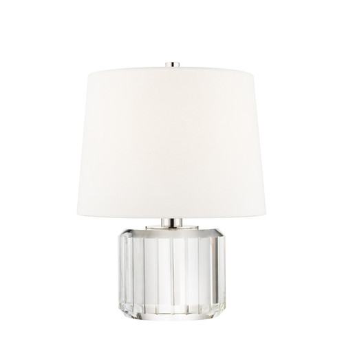 Shown in Polished Nickel with Off White Belgium Linen Shade