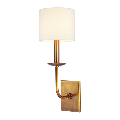 Shown in 1 Light Aged Brass with Off White Faux Silk Shade