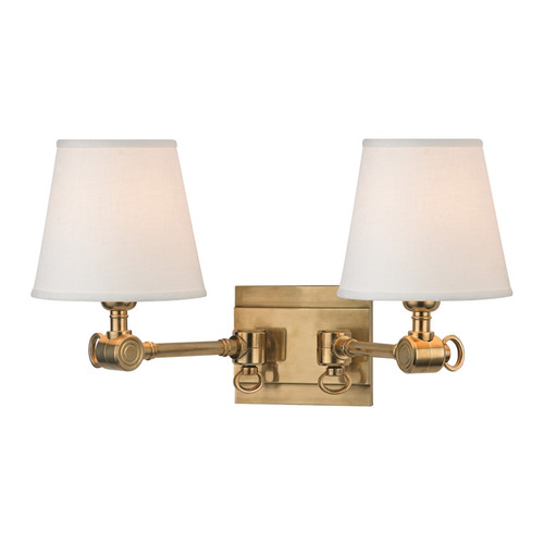 Shown in Aged Brass with White Linen Shade