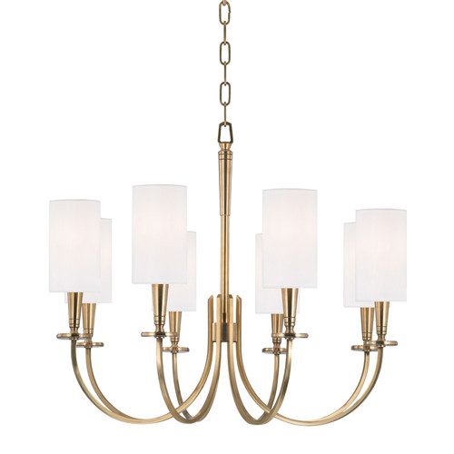 Shown in 8 Light Aged Brass with White Faux Silk Shade