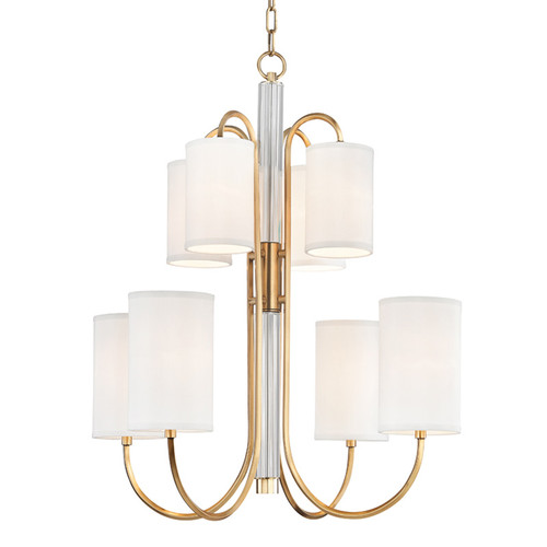Shown in 8 Light Aged Brass with Off White Shade