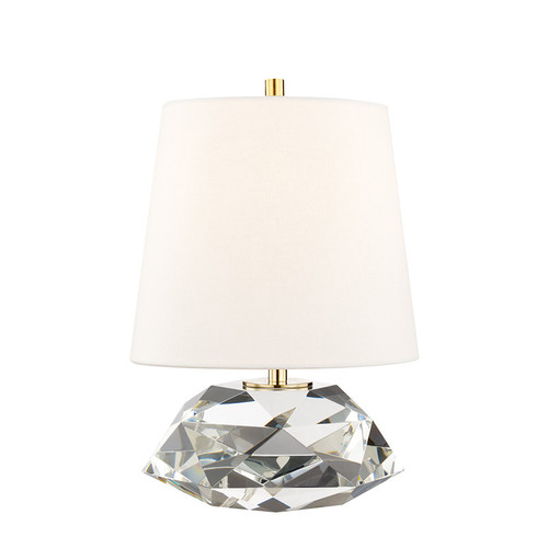 Shown in Small Aged Brass with Off White Belgium Linen Shade
