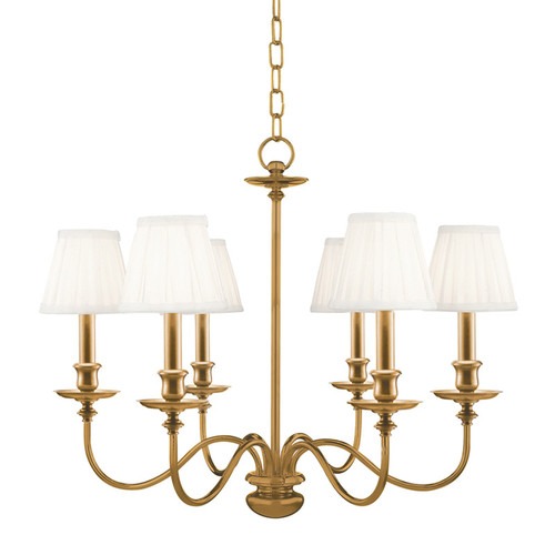 Shown in 6 Light Aged Brass with Off White Faux Silk Shade