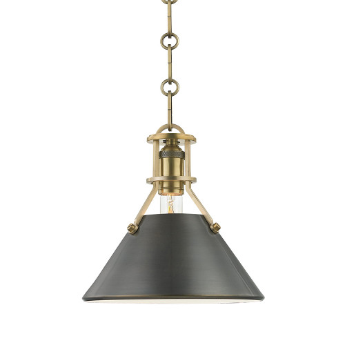Shown in Small Aged/Antique Distressed Bronze with Distressed Bronze Shade