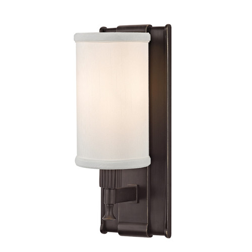 Shown in 1 Light Old Bronze with White Faux Silk Shade