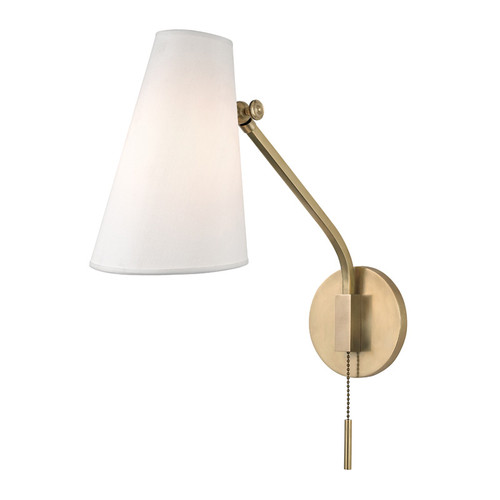 Shown in Aged Brass with White Silk Shade