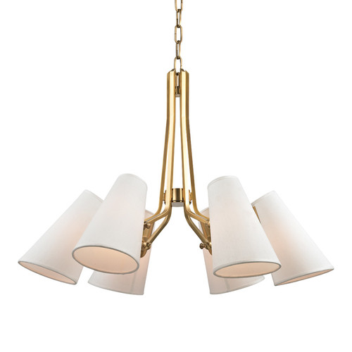 Shown in 6 Light Aged Brass with White Ai Silk Hard Back Shade