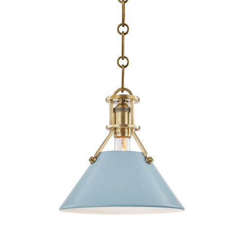 Shown in Small Aged Brass with Blue Bird Shade
