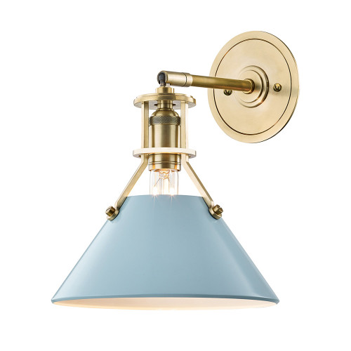 Shown in Aged Brass with Blue Bird Shade