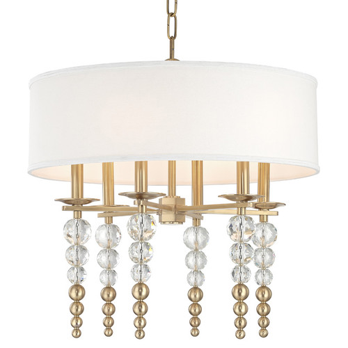 Shown in Small 6 Light Aged Brass with Off White Linen Shade