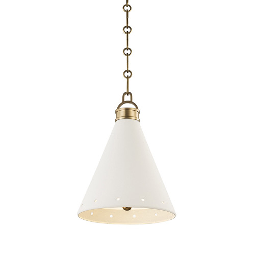 Shown in Small Aged Brass with White Plaster Shade