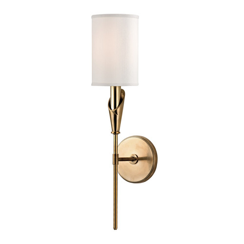 Shown in Aged Brass with White Faux Silk Shade