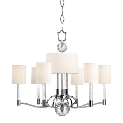 Shown in 9 Light Polished Nickel with Off White Faux Silk Shade