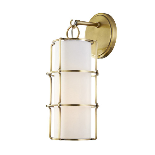 Shown in Aged Brass with Linen Shade