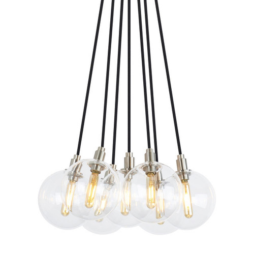 Shown in Satin Nickel with Transparent Glass Globe Shade