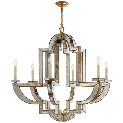 Lido Large Chandelier Antique Mirror with Antique Brass